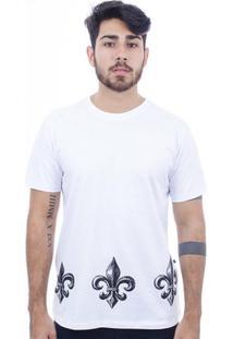 Camiseta Hardivision Hardivision Flor De Lis Manga Curta - Masculino-Branco