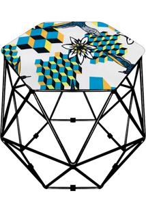 Puff D'Rossi Decorativo Aramado Geométrico Hexágono D23 Base Preta