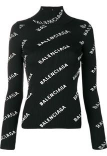 Balenciaga Suéter Com Logo E Abertura Nas Costas - Preto