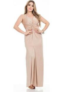 Vestido Clara Arruda Longo Festa Decote Nó 50535 Feminino - Feminino-Rosê