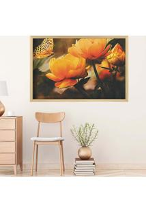 Quadro Love Decor Com Moldura Yellow Flowers Madeira Clara Grande