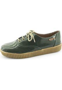 Tênis Creeper Quality Shoes Feminino 005 Verniz Verde Militar Sola Caramelo 36