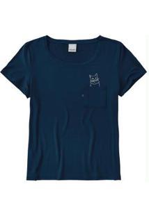 Blusa Azul Escuro Com Bolso Malwee
