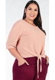 Blusa De Amarrar Plus Size Rosê Com Brilho
