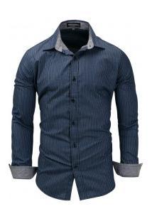 Camisa Masculina Listrado Manga Longa - Azul Escuro
