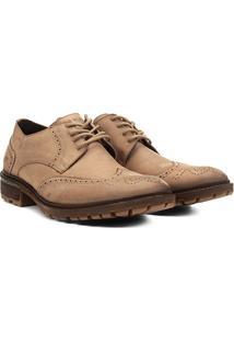 Sapato Social Couro Ellus Oxford Tratorado - Masculino-Cáqui