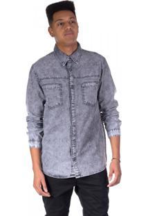 Camisa Jeans Black Delavê Marmo