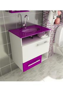 Gabinete Para Banheiro 60 Cm Com 2 Peças Linea 17 Branco E Violeta Tomdo