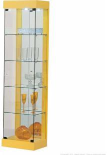 Cristaleira 1 Porta De Vidro Com Espelho E Led 906 100% Mdf Amarelo - Móveis Forini