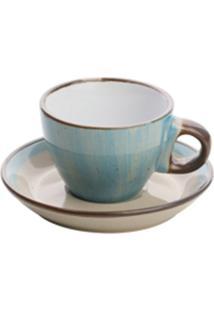 Conjunto 4 Xícaras Porcelana Para Café Compires Azul 100Ml