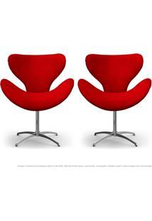 Kit De 02 Cadeiras Decorativas Poltronas Egg Vermelha Com Base Giratória