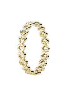 Anel Corações Unidos- Dourado- Tamanho 50 = 10- Pandora