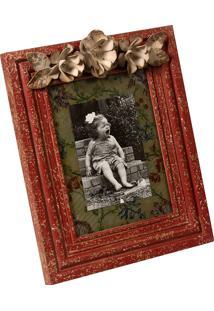 Porta-Retrato De Madeira Fiori Vintage Decorativo Com Detalhe De Metal