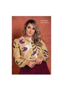 Camisa Safira Costela De Adão Plus Size Domenica Solazzo Camisa Manga Longa Amarelo