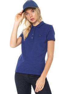 Camisa Polo Lacoste Slim Listrada Azul-Marinho/Preta