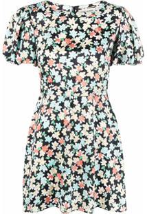 Saint Laurent Vestido Com Mangas Bufantes E Estampa Floral - Preto