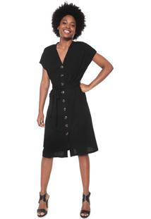 Vestido Chemise Facinelli By Mooncity Midi Amarração Preto