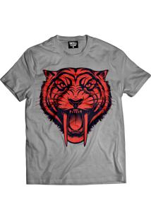 Camiseta Manga Curta Skull Clothing Tigre Cinza