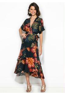 Vestido Cropped Floral Artesanal Marinho
