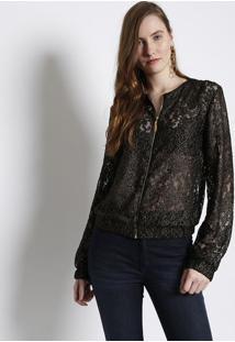 Jaqueta Rendada Com Fios Metalizados - Preta & Dourada