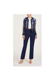 Jaqueta Iodice Classica Composê De Tecidos Jeans