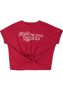 T-Shirt Em Malha De Algodão Com Estampa E Nó Na Barra