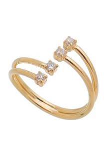 Anel Com Cristal Banhado A Ouro- Incolor & Dourado- Cleo Magalhã£Es