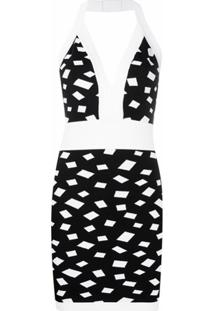 Balmain Vestido Com Estampa Geométrica - Preto