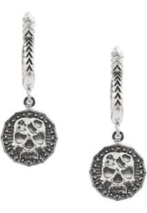 Emanuele Bicocchi Skull Hoop Drop Earrings - Prateado