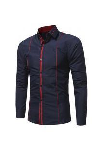 Camisa Masculina Slim Listras Únicas - Azul Escura E Vermelho