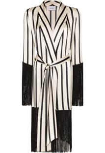 We Are Leone Fringed Stripe Robe - Branco