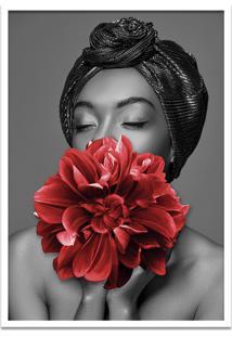 Quadro 60X90Cm Dandara Mulher Com Flor Vermelha Nórdico Moldura Branca Sem Vidro