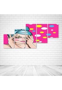 Quadro Decorativo - Pop Girl Pink - Composto De 5 Quadros - Multicolorido - Dafiti
