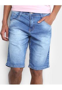 Bermuda Jeans Biotipo Estonada Com Elastano Masculina - Masculino-Azul