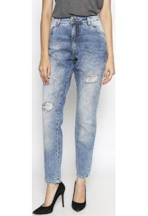 4748ed52cf8b9 ... Jeans Boyfriend Destroyed - Azul - Lebôhlebôh
