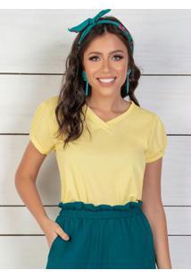 Blusa Decote Em V Amarelo