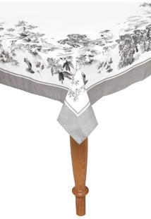 Toalha De Mesa Karsten Quadrada Sempre Limpa Boa Vista 1,60X1,60M Branca/Cinza