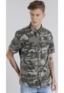 Camisa Masculina Estampada Camuflada Manga Curta Verde Militar