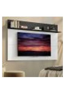 "Painel Tv 65"" C/ Prateleira Amsterdã Plus Multimóveis Branco/Preto"