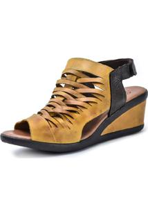 Sandália Scarpan Calçados Finos Em Couro Amarelo