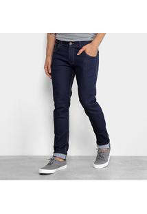 Calça Jeans Slim Coffe Lavagem Escura Masculina - Masculino-Azul Escuro