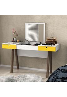 Penteadeira Escrivaninha Pe2002 Branco/Amarelo Noce - Tecno Mobili