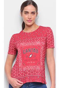 Camiseta T-Shirt Cantão Classic Bandana Tee Feminina - Feminino-Vermelho