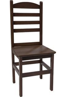 Cadeira Pop Fixa Em Madeira Maciça Verniz - Imbuia