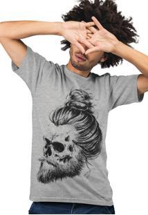 Camiseta Samurai Caveira Cinza