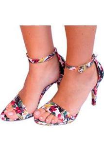 Sandália Em Tecido Floral Salto Fino Mahasa Feminina - Feminino