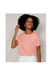 Camiseta Feminina Ampla Com Bordado De Concha Manga Curta Decote Redondo Coral