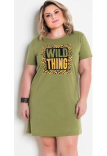 Vestido T-Shirt Dress Verde Militar Plus Size