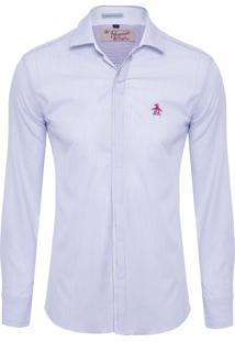 Camisa Masculina Listrada - Azul