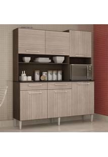 Cozinha Compacta 6 Portas 2 Gavetas Valéria 6174 Capuccino/Amêndoa - Poquema